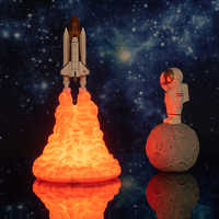 2019 Newest Dropshipping 3D Print Space Shuttle Lamp Rechargeable Night Light For Space Lovers Moon Lamp as Room Decoration