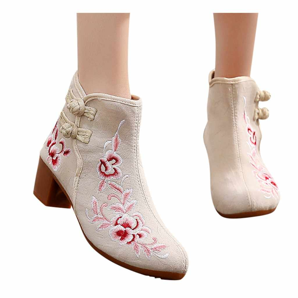 Çizmeler sonbahar kış 2020 yeni kadın işlemeli ayak bileği çıplak patik toka kare topuk zarif bayanlar için rahat kısa çizmeler # o18
