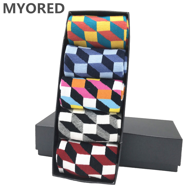 MYORED Drop Shipping Combed Cotton Causal Novelty Gifts Socks Men Fashion Autumn Winter Four Seasons Calcetines De Hombre