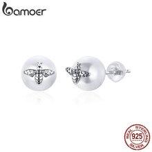 Bamoer Echt 925 Sterling Silber Biene auf die Perle Stud Ohrringe für Frauen Elegante Hochzeit Engagement Schmuck Brincos BSE336