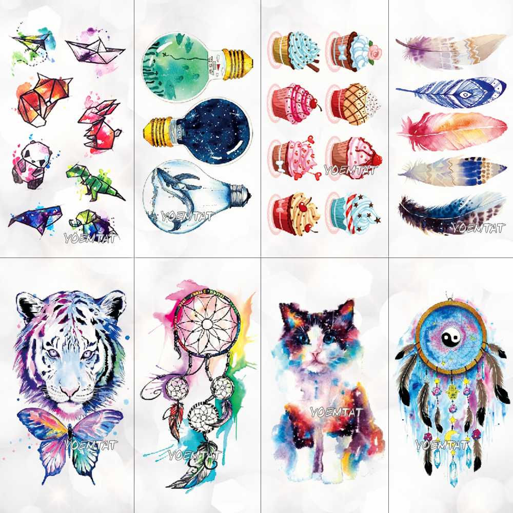 Cute Watercolor Cartoon Design Temporary Tattoo For Kids Children Lamp Water Trasnfer Tattoo Stickers Ocean Women Girl Tatoos