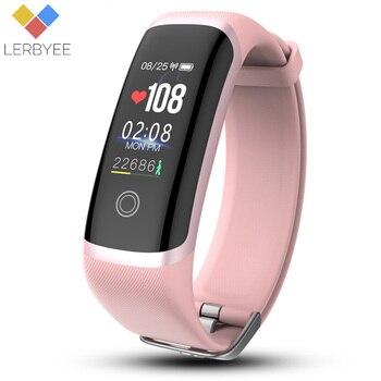 Lerbyee Bracelet intelligent M4 moniteur de fréquence cardiaque Nrf52832 Fitness Tracker montre écran couleur rappel d'appel Bracelet intelligent pour IOS