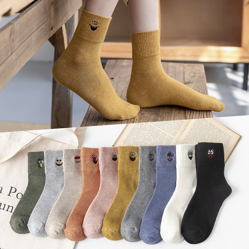 Crew Embroidered Funny Socks Women Ankle Winter Women Socks Cotton Warm Cartoon 1 Pair
