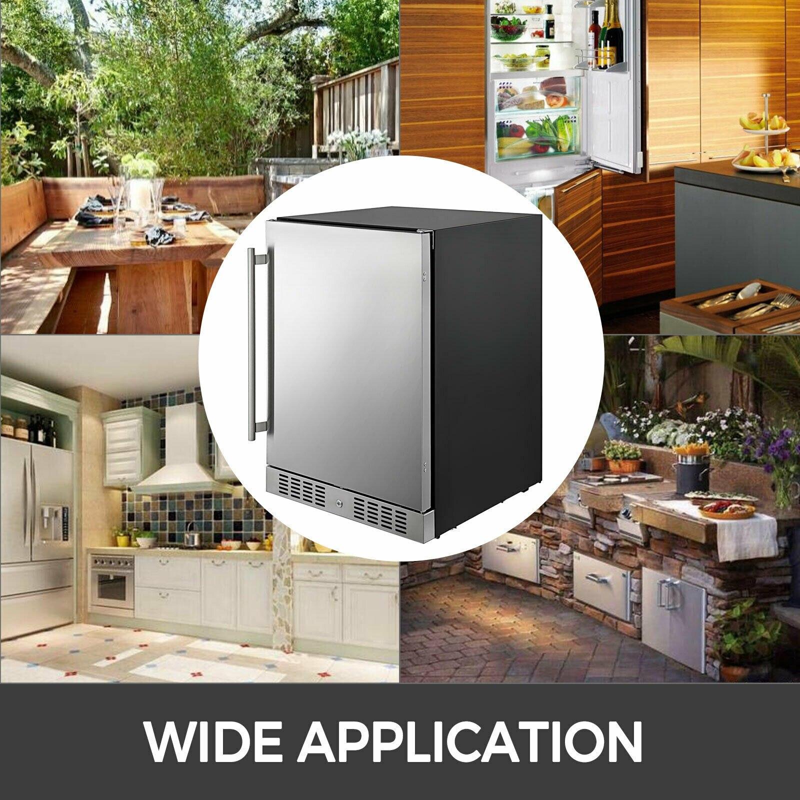 VEVOR небольшой холодильник сода и пива реверсивная дверь Нержавеющаясталь мини-холодильник с морозильной камерой для Офис коммерческого применения внутри помещений Применение 2