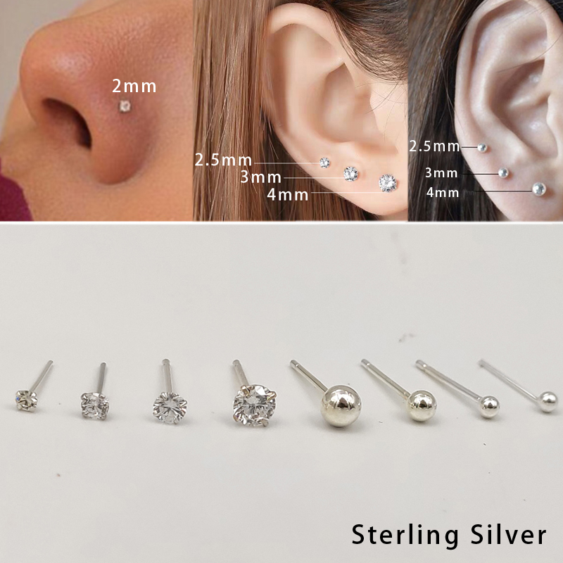 20pcs/pack 925 Sterling Silver Crystal Earringsnose Stud Tiny Ball Piercing Body Jewelry Women
