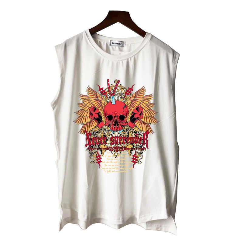 Brand new czerwone czaszki tatuaż goth art rock n roll mężczyźni kobiety chłopiec dziewczyna podkoszulki casual punk hip hop letnia kamizelka koszulka bez rękawów