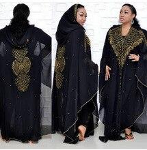 Африканская Исламская Мусульманский Хиджаб Платье Женщины Шифон Алмаз С Капюшоном Абая Пакистана Кенга Марокканский Кафтан Бисером Бурки Партии Наряд