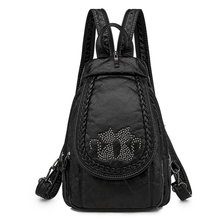 Yeni bayanlar yumuşak yıkanmış deri sırt çantası 3 in 1 sevimli kedi kadın sırt çantası küçük seyahat sırt çantası kızlar için Sac dos Mochila Feminina
