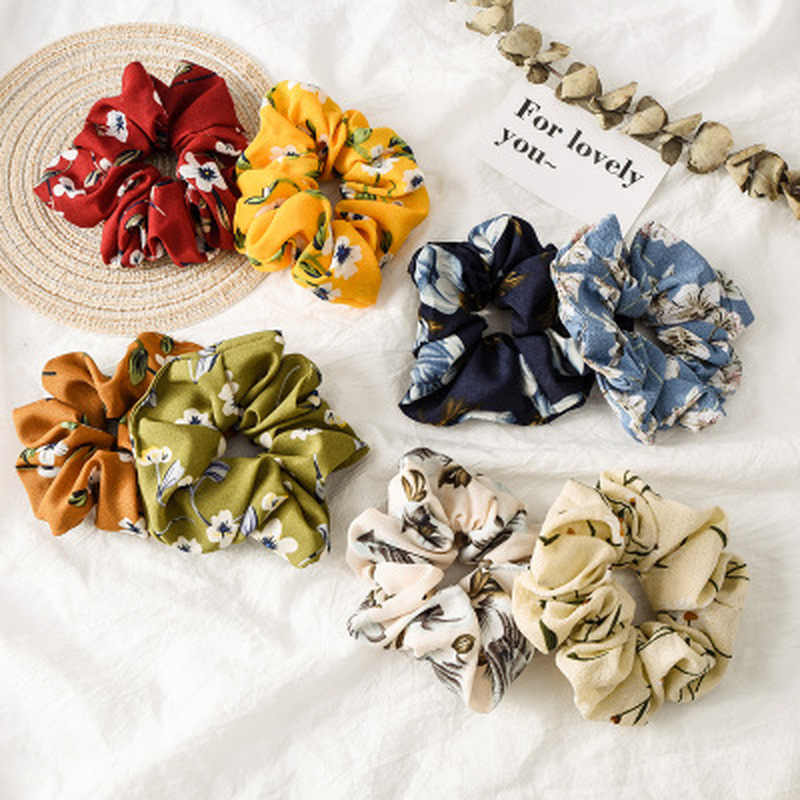 1PC New Spring Flower Hair Scrunchies Ponytail Holder Soft Stretchy Hair Ties Vintage Elastics Hair Bands for Girls Accessories