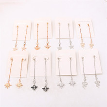 New Fashion Rhinestone Dangle Stud Earrings Extend Chain Jewelry DIY Charms  for Women P87