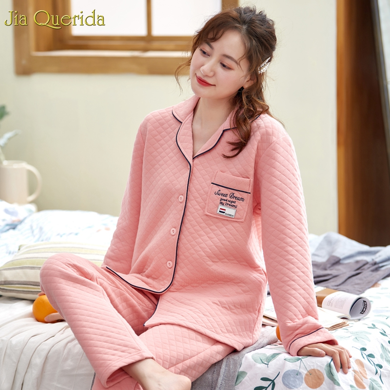 Pyjama ensembles femmes manches longues Double côtés coton rembourré 100% coton tissu Pijamas femmes rose diamant motif femmes vêtements de nuit