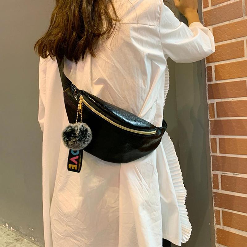Women Multicolor Laser Waist Bag PU Leather Shoulder Messenger Bags Pompom Fanny Chest Belt Purse Outdoor Casual Money Pouch