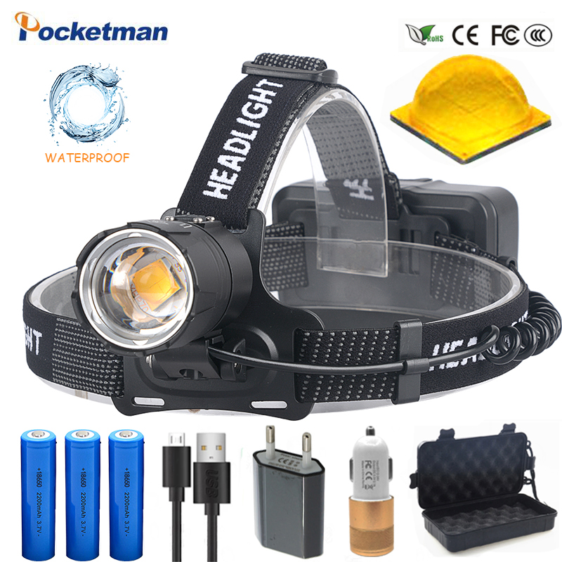 110000LM Yellow XHP70.3 LED Headlamps Heavy Foggy Snowy Fishing Most Powerful XHP70.2 Headlights Torch ZOOM Use 3x18650 Battery