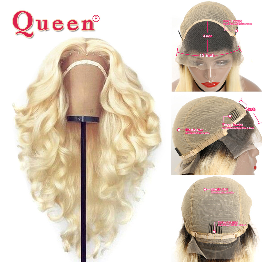 13*4 613 Body Wave Glueless Lace Front Human Hair Wigs Honey Blonde Preplucked Brazilian Wig Remy Hair Wig for Black Women QUEEN image