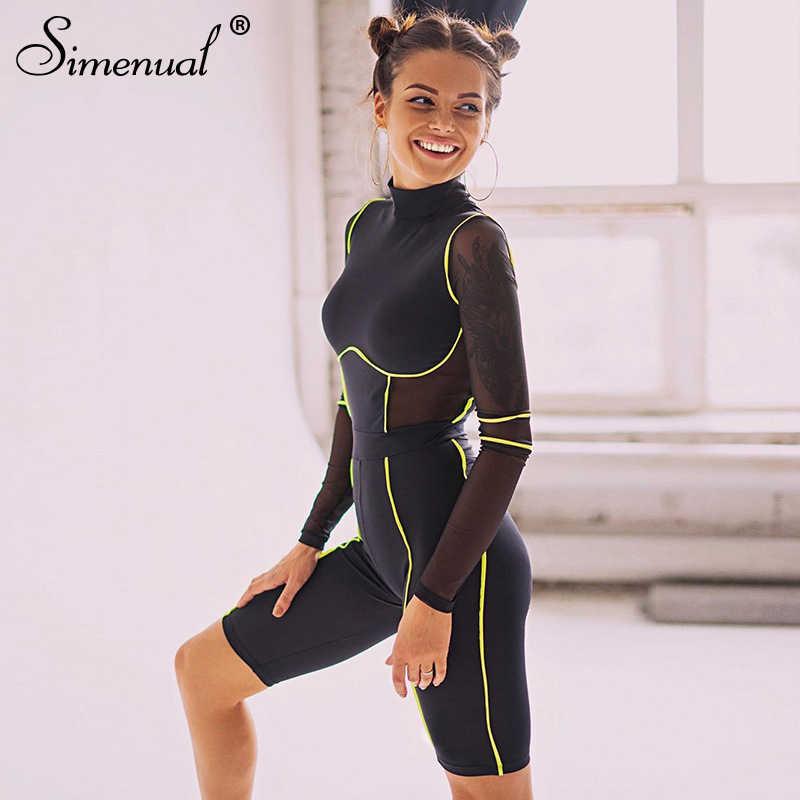 Simenual Sportliche Aktive Tragen Fitness Strampler Frauen Overall Mesh Patchwork Lässige Workout Langarm Biker Playsuits Herbst