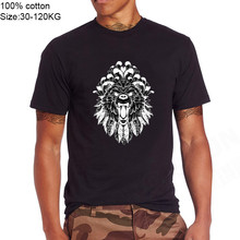 Bear Grizzly Roar Tattoo Feathers peony Distressed on sale Men brand tshirts 100% cotton gift t-shirt lion king male tv t shirts