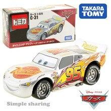 Tomy Takara Disney arabalar Tomica C-31 yıldırım McQueen gümüş Racer tipi sıcak Pop çocuk oyuncakları motoru araç Diecast Metal Model