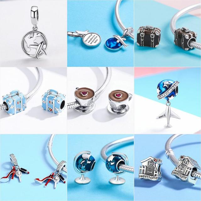 925 Sterling Silver Berloque Family House Eiffel Tower Camera Travel Dream Coffee Cup Shoes Charm Fit Charm Bracelet DIY Jewelry 4