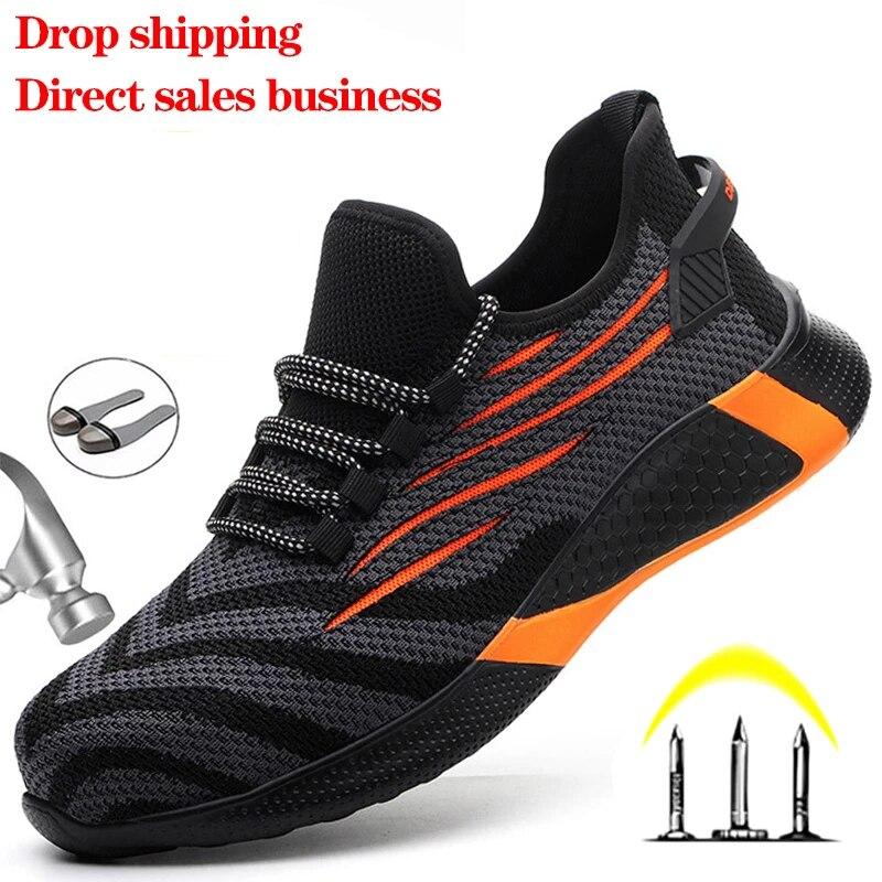 Защитные рабочие ботинки для мужчин, ботинки со стальным носком, защита от ударов, защитные рабочие кроссовки, рабочие защитные ботинки