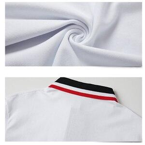 Image 5 - Мужская Повседневная рубашка поло, дышащая хлопковая рубашка поло с короткими рукавами и отложным воротником в стиле пэчворк, модель 5XL в полоску на лето