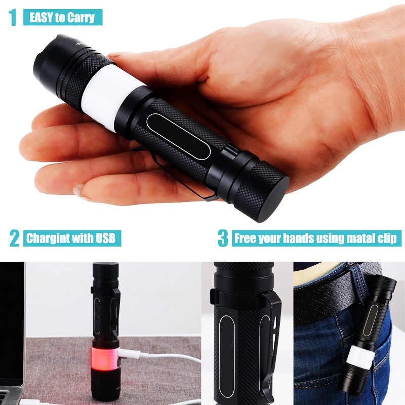 EZK20 دروبشيبينغ LED التكتيكية مصباح يدوي قابل لإعادة الشحن T6 6 وضع يده USB مشاعل للتخييم التنزه الدراجات