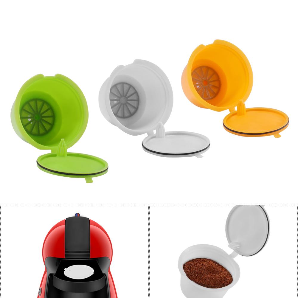3 Pcs Reusable Nescafe Dolce Gusto Coffee Capsule Filter Cup Refillable Caps Coffee Filter Baskets Pod Soft Taste Sweet
