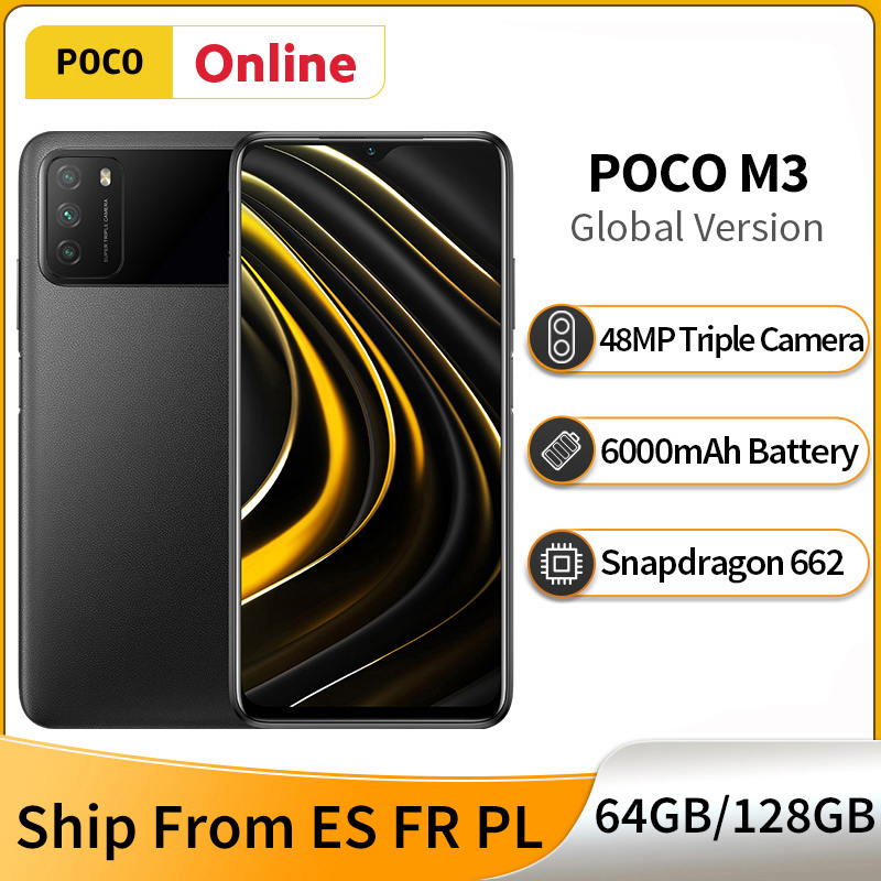 Смартфон глобальная версия POCO M3 4 ГБ 128 ГБ/64 ГБ, Snapdragon 662, 6,53 дюйма, DotDrop, 6000 мАч, большая батарея, тройная камера 48 МП