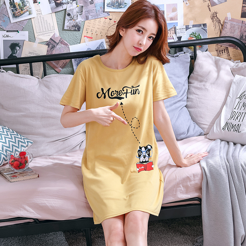 Nightgown Female Summer Loose-Fit Korean-style Students Large Size Summer Short-sleeved Pajamas Pure Cotton WOMEN'S Half Sleeve