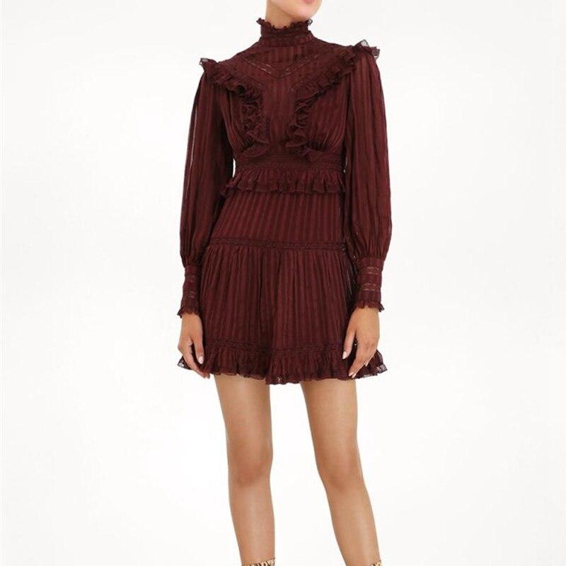 2019 nouveautés femmes vin rouge dentelle robe piste manches longues robes courtes