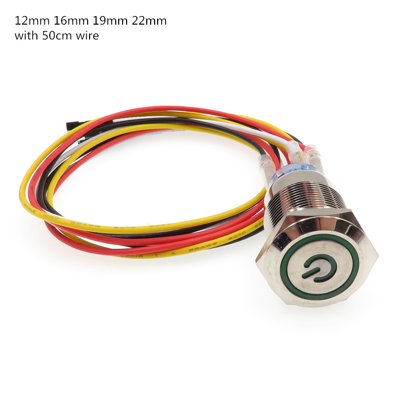1pcs Computer Metal LED Power Push Button Switch On-off 5V 12mm 16mm 19mm 22mm Waterproof  With 50cm Wire Harness Power Port