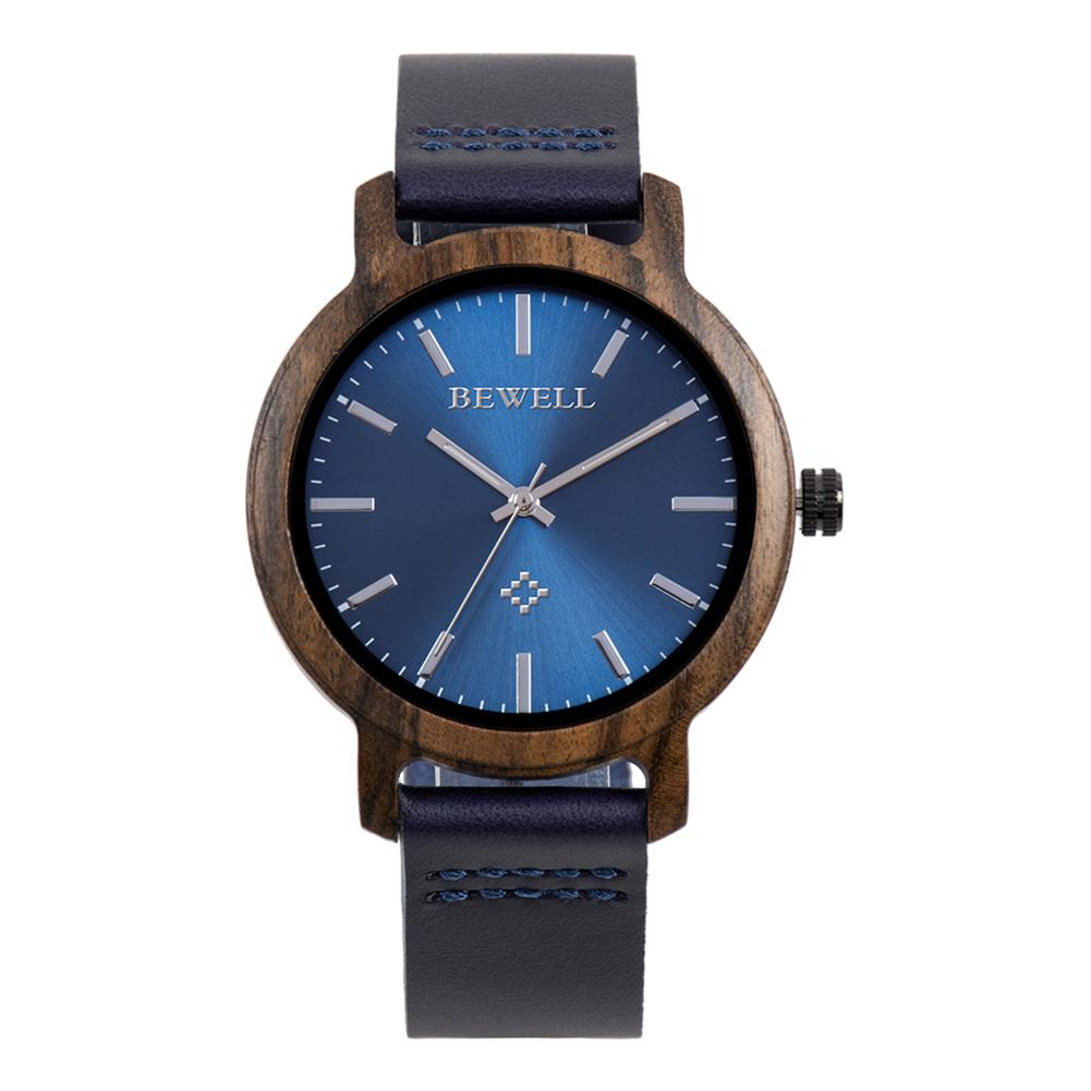 BEWELL Women Men Lovers Wristwatches Stylish Wooden Quartz Watch PU Leather Strap Analog Wrist Watch For Female Male