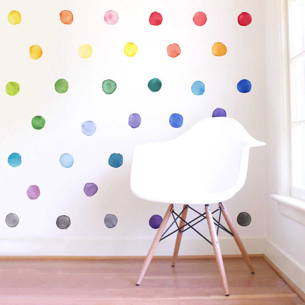 DreamArts Small Rainbow Irregular Shaped Polka Dots Wall Stickers Peel and Stick Wall Decals Kids Room.jpg q50