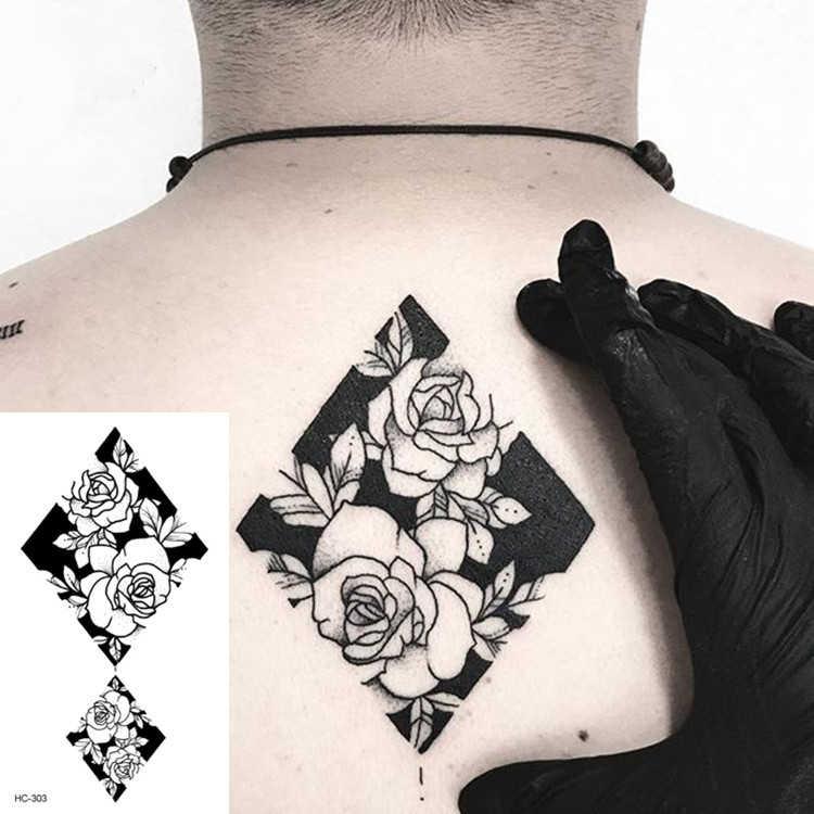 1 PC Geometrische Planeten Mode Frauen Temporäre Tattoo Aufkleber Schwarz Rosen Design Blume Arm Körper Kunst Große Gefälschte Tattoo Aufkleber
