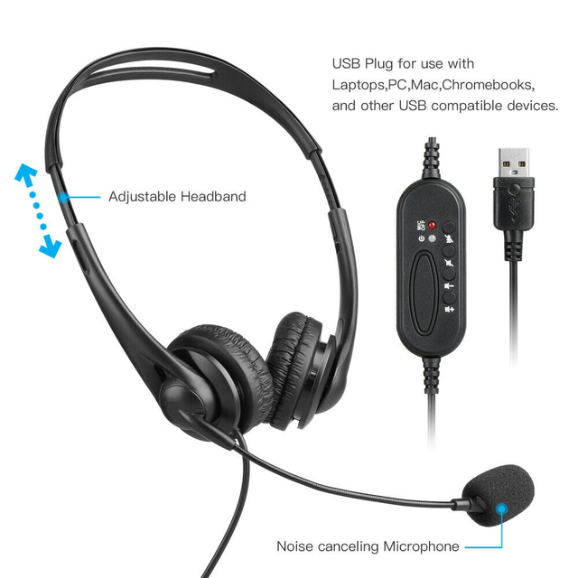 Wired Headphone USB Headset HD Lossless Sound Earphone Adjustable with Microphone for Computer PC Laptop Noise Cancelling ABS 2