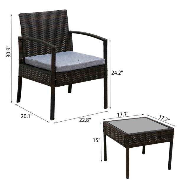 3PC Patio Furniture Wicker Rattan Outdoor Conversation Set  6