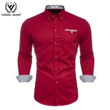 VISADA JUANA 2019 moda męska Casual z długim rękawem czerwona koszula Slim Fit męska formalna sukienka biznesowa koszula marka mężczyźni odzież miękka