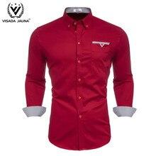 Мужская рубашка с длинным рукавом VISADA JUANA, красная Облегающая рубашка в деловом стиле, 2019
