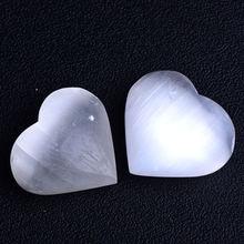 1 шт натуральный белый селенит ручной работы из гипса сердце