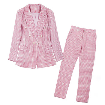 Autumn new womens suit Casual double-breasted pink plaid female high quality Wild nine pants women Two-piece set