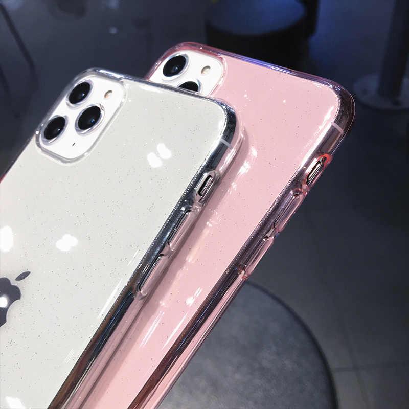 LOVECOM Luxe Paillettes Transparent étui pour iphone 11 Pro Max X XS Max XR 6 6S 7 8 Plus Couleur Uni Doux TPU Téléphone Couverture Arrière