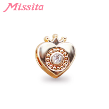 MISSITA Women Crystal Heart Pattern Charm fit Pandora Bracelets & Necklaces for Jewelry Making Ladies Accessories
