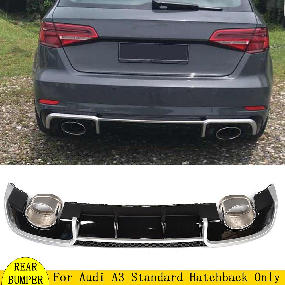 Black <font><b>Rear</b></font> Bumper Lip Spoiler <font><b>Diffusers</b></font> fit for RS3 with 2 Tail Throat Fits for <font><b>Audi</b></font> <font><b>A3</b></font> 8V 2014 2015 <font><b>2016</b></font> car accessories image