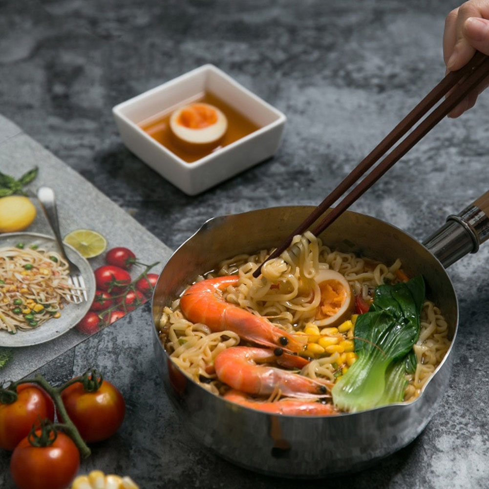 Boil Flat-bottomed Sugar Food Fry Japanese-style Milk Pan Aluminium Alloy Kitchen With Glass Cover Non-stick Noodles Pot Soup