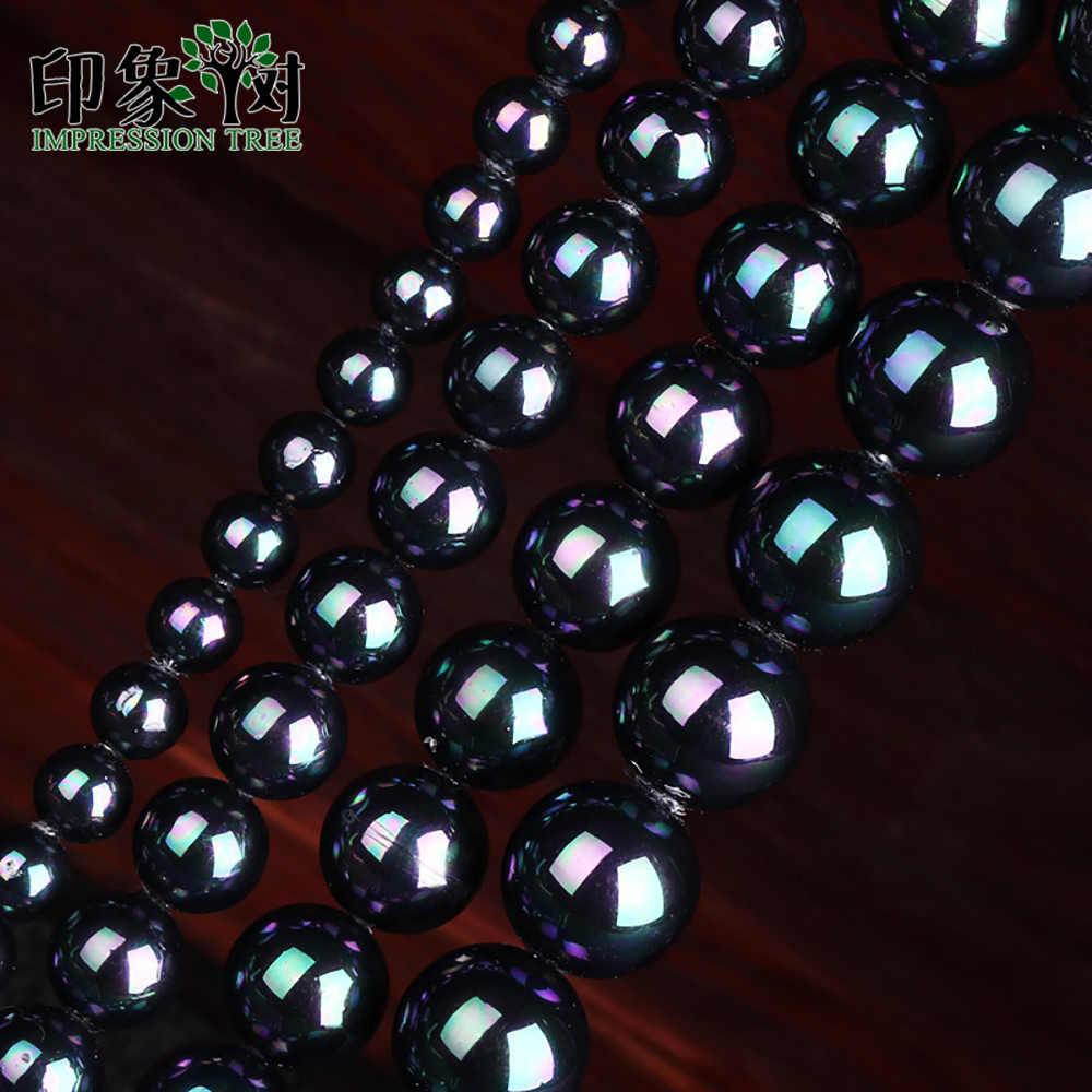 """1Pc 15 """"ピンクラウンドブリリアント形状ストランドシェル真珠ビーズ 6 8 10 12 ミリメートル AB 黒色フィットネックレス Diy のジュエリーメイキング 1878"""