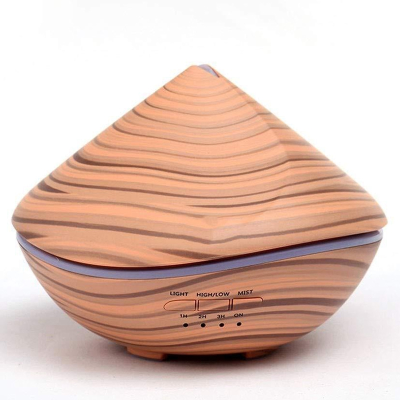 500Ml Aromatherapy Air Humidifier Aroma Essential Oil Diffuser With Wood Grain 7 Color Changing Led Lights For Office Home Eu Pl