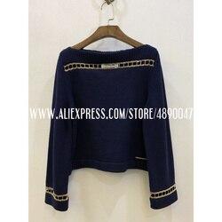 Suéter de cachemir de costura de cadena de Metal de alta calidad para mujer 2020 suéter de cuello de primavera temprana