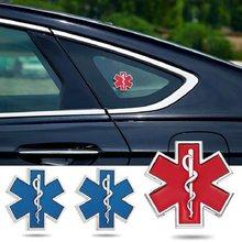 Carro modificado metal adesivo estrela da vida logotipo azul ambulância emergência logotipo emblema do lado do carro fender tronco decoração acessórios