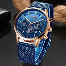 LIGE Mens Watches Top Brand Luxury Waterproof Wrist Watch Ultra Thin Date Blue Quartz Watch For Men Sports Clock Erkek Kol Saati спот globo 57382 3