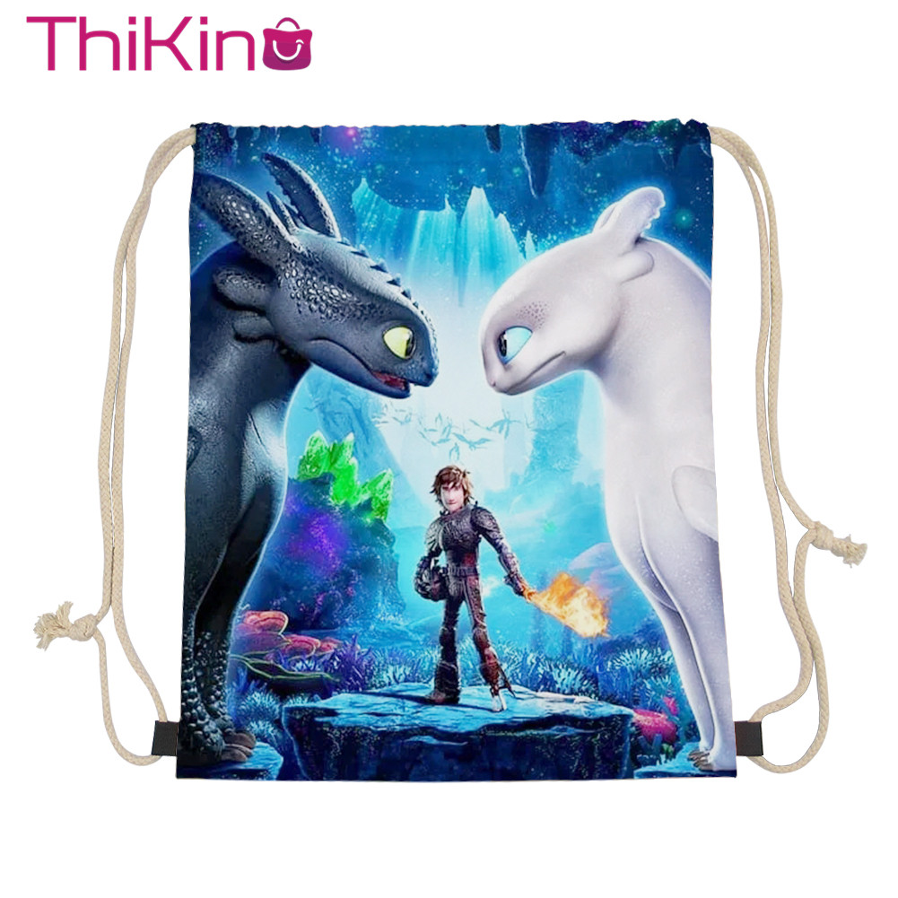Thikin How To Train Your Dragon Casual Sack Drawstring Bag For Girl Travel Toddler Softback Lady Beach Mochila Tote Bag