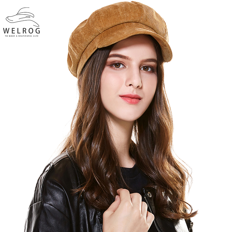 WELROG Artist Corduroy Winter Octagonal Hats For Women Newsboy Cap High Quality Fashion Berets Solid Color Casual  Female Hats